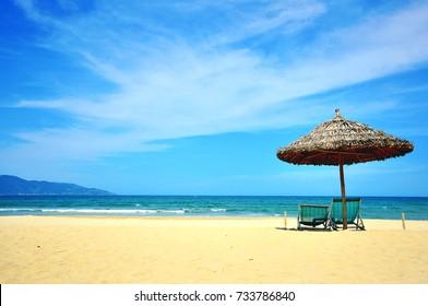 Sunny beach in Da Nang resort, South China sea, Vietnam