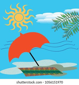 sunny beach illustration  colorful red umbrella and sand