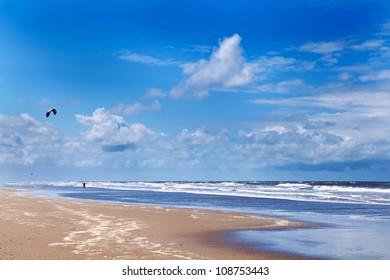 sunny beach and kitesurfing in North sea