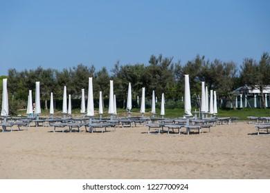 sunny beach of Lido di Jesolo, Italy