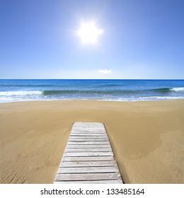 Sunny beach with Wooden walk floor