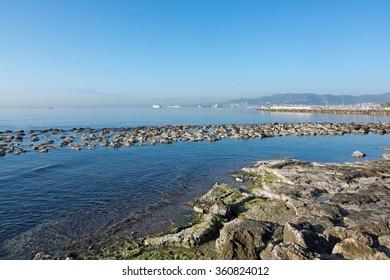 Sunny bike route along the Mediterranean in December in Mallorca, Balearic islands, Spain