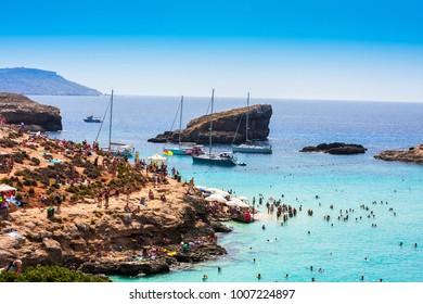 Sunny Blue lagoon on the Comino Island, Malta