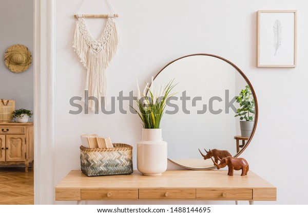 Sunny Boho Interiors Apartment Mirror Dressing Stock Photo Edit Now 1488144695