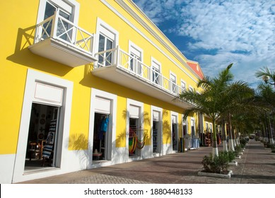 The sunny building in San Miguel resort town main square on Cozumel island (Mexico).