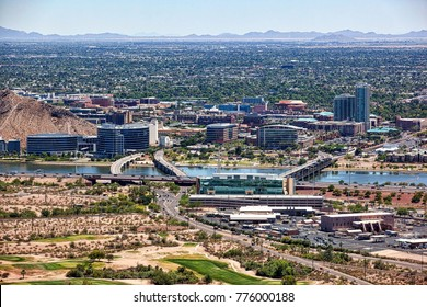 Sunny and clear skies over the lakefront and downtown of Tempe, Arizona