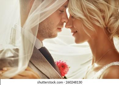 sunny close-up portrait of bride