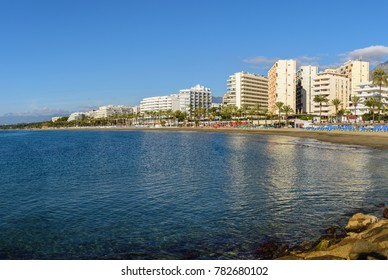 Sunny coastline of Marbella town, Andalusia, Spain
