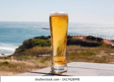 Sunny coastline and one beer glass of a tourist. Ocean view with fresh beer on natural background. Vacation concept.