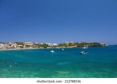 Sunny day in Agia Pelagia bay, Crete, Greece