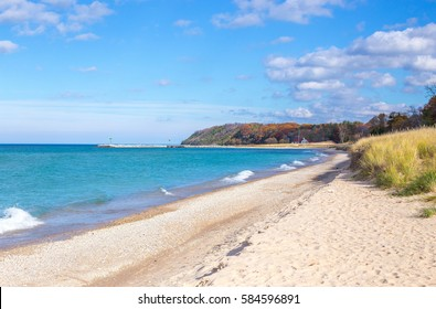 A sunny day along the shores of Lake Michigan in northern Michigan