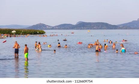 Sunny day in a beach in summertime, Balatonederics in lake Balaton. 27. 08. 2017 Hungary