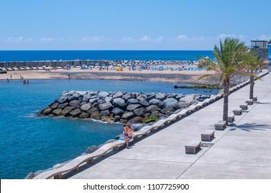 Sunny day at the  Calheta Beach. Madeira. Portugal