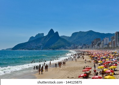 Sunny Day in Crowded Ipanema Beach
