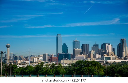 Sunny Day in Dallas Texas with a blue sky and nice Downtown Skyline Cityscape overlook of the mega North Texas City with Reunion Tower and High skyscrapers