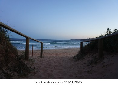 Sunny day at Dee Why and Long Reef Beach, Northern Beaches, Sydney, Australia - Good waves for surfing and beautiful sunset
