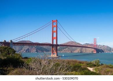 Sunny day at The Golden Gate Bridge in San Francisco, California