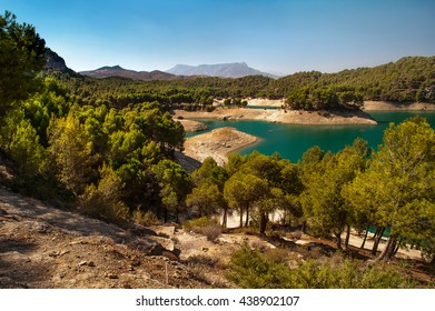 Sunny day at the lake side at El Chorro lake district, Andalusia, Spain