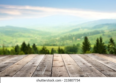 sunny day with landscape and terrace