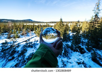 Sunny day with lens ball in winter country