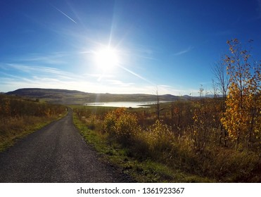 Sunny day near Milada lake in Usti nad Labem city. Spring on big sea Milada near Usti nad Labem city. Landscape in the Czech Republic, Europe. Lake for recreation and free holiday time in Czechia.