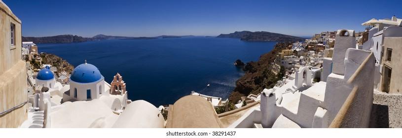 Sunny day on the island of Santorini