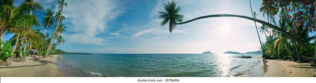 Sunny day on the tropical beach. Siam bay. Province Trat. Koh Mak island. Kingdom Thailand. Panorama