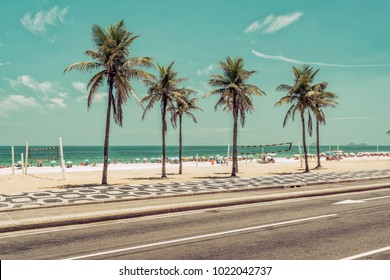Sunny day with Palms on Ipanema Beach in Rio de Janeiro, Brazil