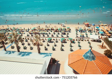 Sunny day and panoramic view to Durres beach. Blue sky and water of Adriatic Sea.