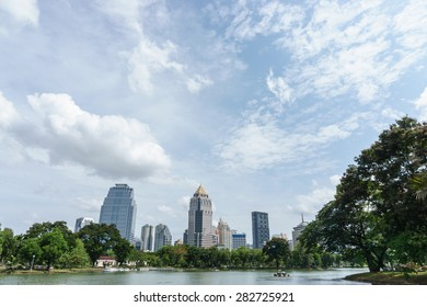 sunny day in the public park with cloud on the sky, Bangkok Thailand