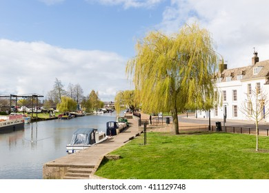 Sunny day at the riverside in Ely, Cambridgeshire, England