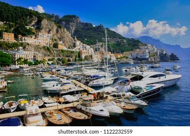 A sunny day in Salerno. Yachts in the sea bay in Salerno. Weekends in Salerno. Beautiful morning scenery in Salerno. Summer vacation in Italy. Beautiful Campania.