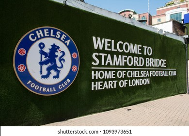 Sunny day in Stamford Bridge Stadium of Chelsea Football Club in London, England on May 07, 2018.