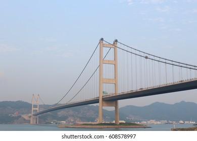 Sunny day at Tsing Ma Bridge, new landmark of Hong Kong