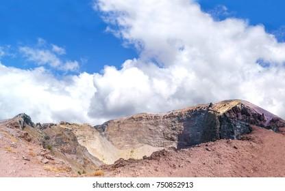 Sunny day at Vesuvius national park. Vesuvius crater panorama.