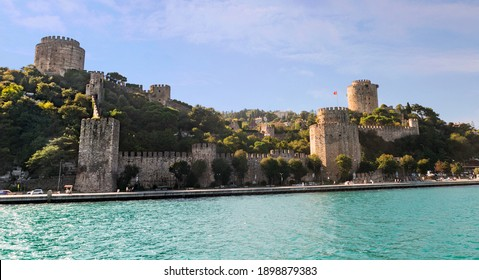 Sunny day view on Bosporus Strait waterfront with Rumeli Hisari fortress in Istanbul. Rumeli Hisar is a hilltop 15th-century fortress built by sultan Mehmet the Conqueror