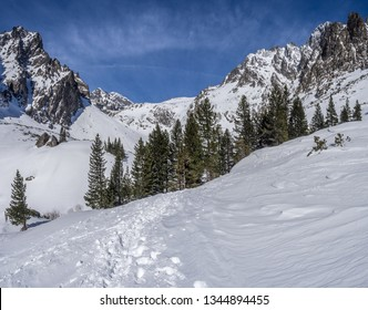 The sunny day view of Small Cald Valley (Malá studená dolina) in winter High Tatras, Slovakia.