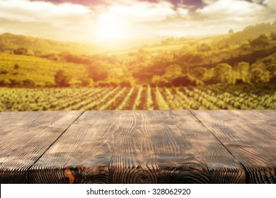 sunny day in vineyard and top