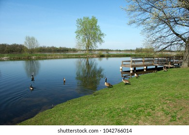 Sunny day at Willow Slough Fish and Wildlife Area in Indiana