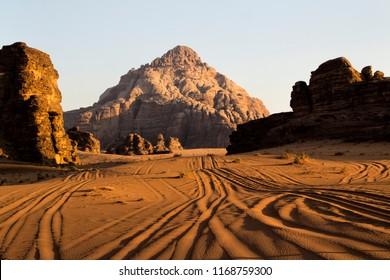 The sunny desert with rocks . Jordan. Wadi Rum
