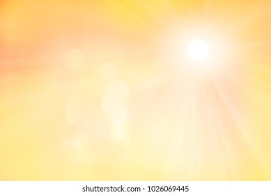 sunny design backdrop with light flares and sun rays in shades of yellow colors
