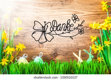 Sunny Easter Decoration, Calligraphy Danke Means Thank You