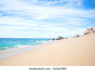 Sunny Empty Beach in Cabo San Lucas, Mexico