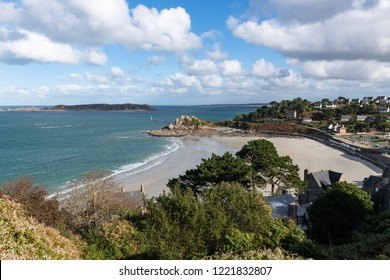 Sunny and empty beach at Perros-Guirec in northern France.