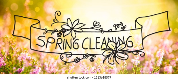 Sunny Erica Flower Field, Calligraphy Spring Cleaning