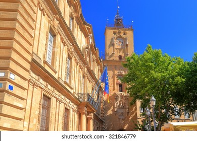 Sunny facades of old buildings in Aix-en-Provence, France