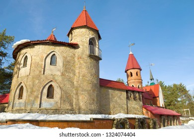 """Sunny February day at the walls of """"Andersengrad"""" is a children's fairytale town. Sosnovy Bor, Russia"""