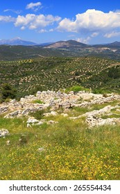 Sunny hills of Peloponnese around ancient ruins of Mycenae, Greece