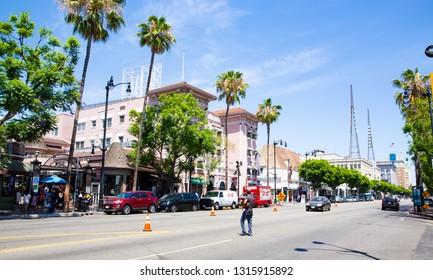 Sunny Hollywood Boulevard, Hollywood, Los Angeles, USA, 07-24-2018