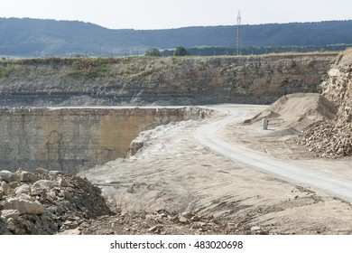 sunny illuminated stone pit scenery in Southern Germany